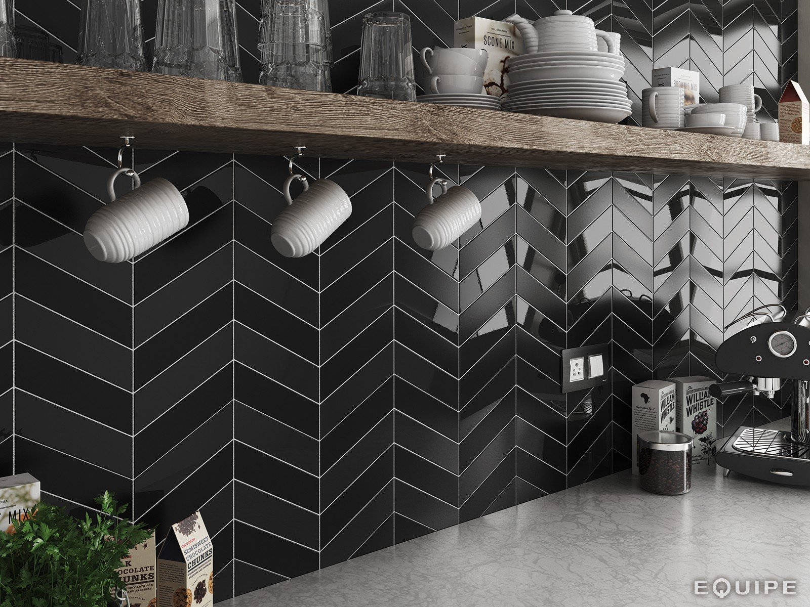CHEVRON NERO GLOSS 5.2X18.6 L - SQM