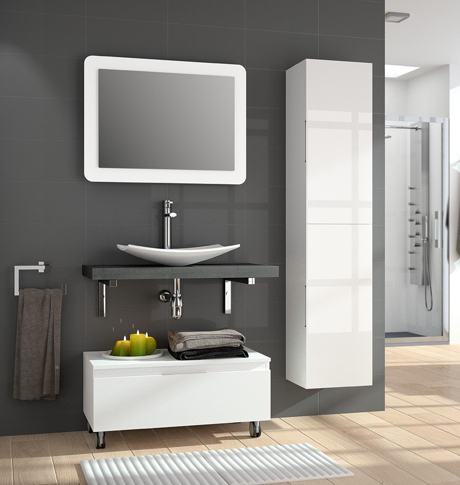 VERSUS 80CM ANTRACITE GLOSS VANITY - SET