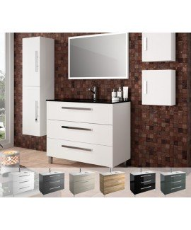 FUSSION 100CM 3 DRAWER WHITE GLOSS - SET